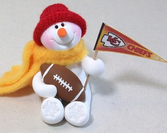 Kansas City Chiefs snowman ornament