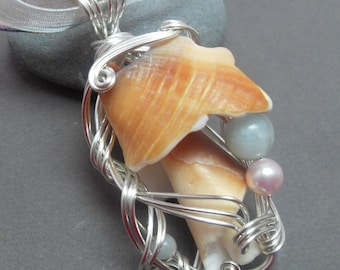 Peachy Sea Shell Amazonite Silver Sculpted Wire Necklace