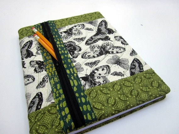 Fabric Book Cover With Zipper Tutorial ~ Composition book cover fabric w zipper pocket by dailythreads