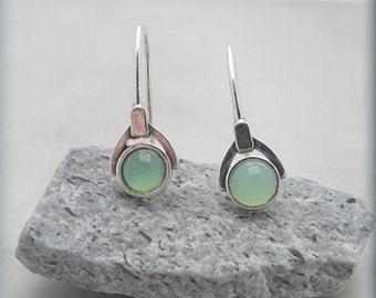 Green Chrysoprase Earrings Sterling Silver Gemstone Jewelry (SE985)