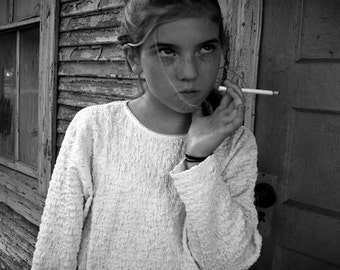 Tribute to Sally Mann Young Girl Smoking Black & White Fine Art Photograph Home Decor Archival Photo