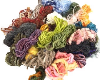 Yarn grab bag, freeform or surface embellishments, mini skeins, varying weights