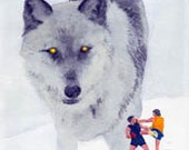 """The Watcher 8.5 x 11"""" print by Ray Young Chu (Wolf Watching Human Fighters)"""