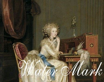 French.Marie Antoinette at desk.  Gorgeous.Digital Download,cards, tags,postcards and more