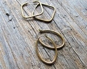 Vintage Geometric Hoop Earrings - Dark Brass Square Hoops - Shiny Brass Oval Hoops  - Vintage Brass Hoop Earrings