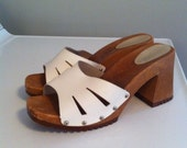 Vintage 90s chunky summer leather sandal clogs