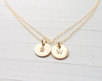 Two Monogram Necklace Double Initial Layered Necklace -  Two Chain Gold Monogram Charms Gold Filled Personalized Jewelry Layering Necklaces