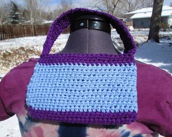 Cute purple and light blue cotton crochet purse