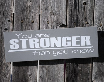 You are STRONGER than you know 4x12 wood sign