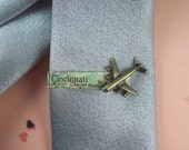 Custom City - Bronze Airplane - Travel Tie Clip