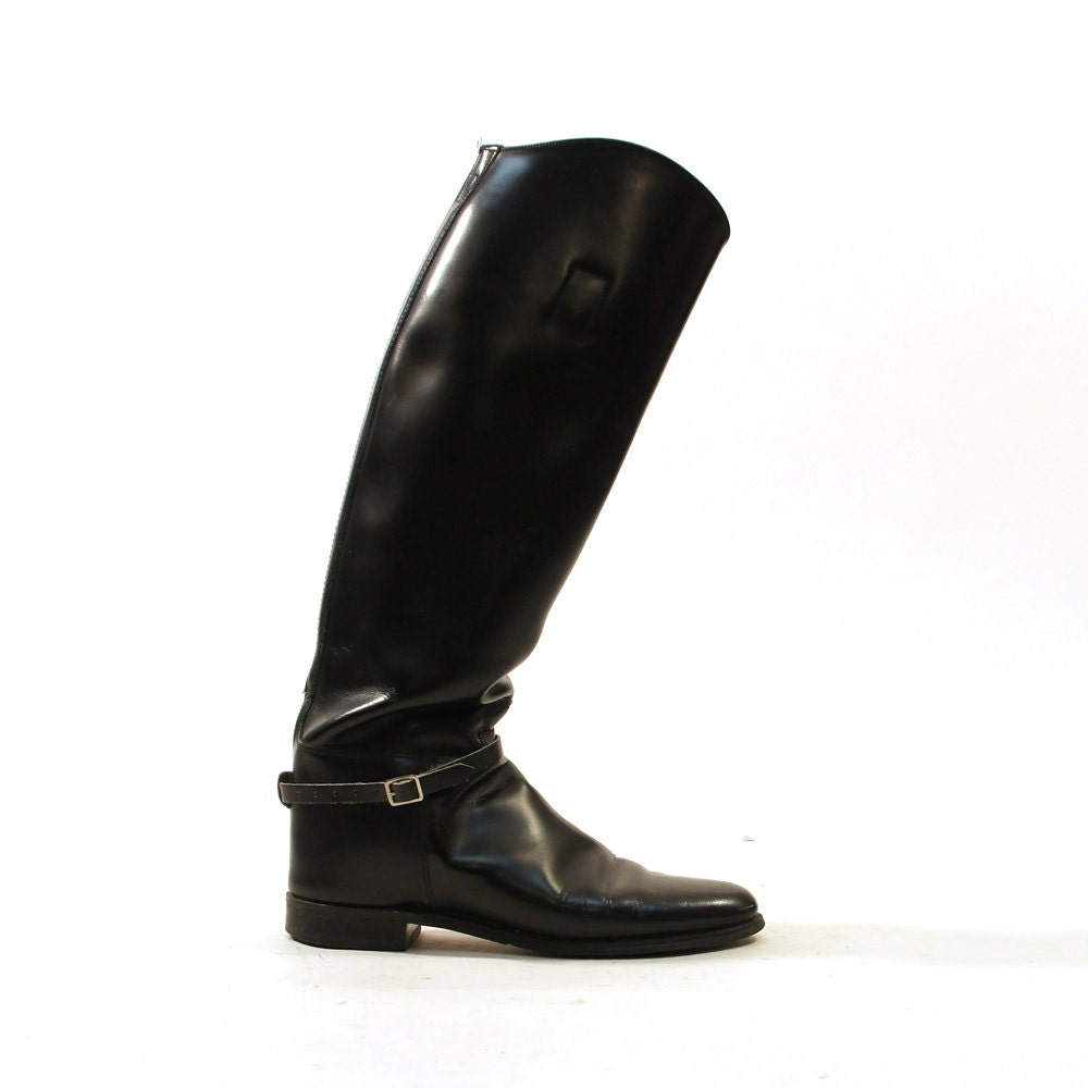 black leather boots knee high s