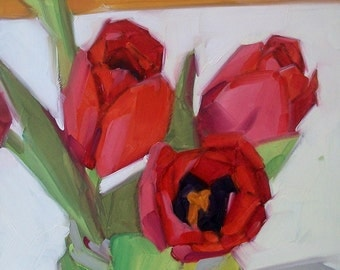 HOPEFUL floral oil painting of red tulips