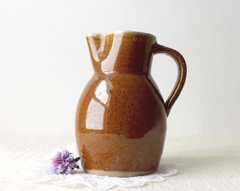 Vintage Brown Stoneware Pottery Pitcher, Jug