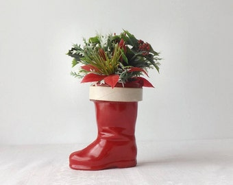 Vintage Red Santa Boot Plastic Christmas Candy Container