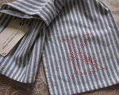 SALE -stitched & ready to ship; K monogram towel red on blue ticking stripe