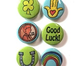 Lucky Magnet or Pin Set - Good Luck Fridge Magnets, Pinback Buttons - Graduation, New Job Gift, Penny, Hamsa, Four Leaf Clover, Horseshoe