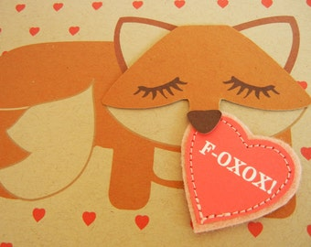 Valentine Grayson the Fox with Felt Applique Heart Valentine's Day Note Card with Envelope
