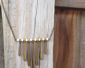 Bronze Paddle Necklace