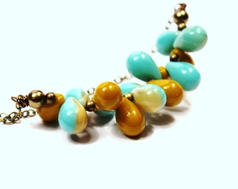 Aqua Blue & Mustard Yellow Glass Beaded Necklace Turquoise Speckled Organic Teardrops Nuggets Floating Brass Earthy Sky Ocean Beach Drops