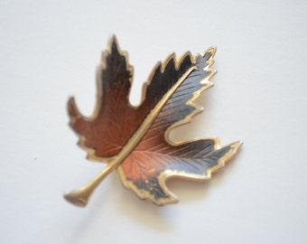 Vintage Maple Leaf Enamel Brass Brooch