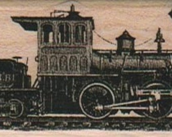 vintage steam Train rubber stamp  steampunk unmounted, cling stamp or wood mounted 3670