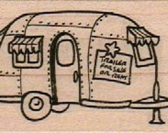Rubber stamp shasta Trailer camper caravan   scrapbooking supplies 11184 cling stamp, unmounted or wood mounted camper