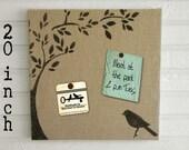 Bird and Tree -  Burlap covered Cork Message Board 20 inch  - Pin Board, Tack Board, Memo Board, Bulletin Board - Bird Tree Wall Decor -
