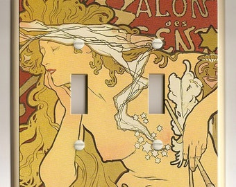 "Alphonse Mucha ""Salon"" Art Nouveau - Artist Lady - Double Light Switch Plate - Yellow, Burnt Sienna, Blonde and Cream Colored"