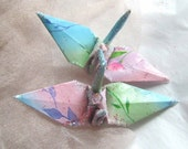 Ombre Sky Flower Peace Crane Bird Wedding Cake Topper Party Favor Origami Christmas Ornament Japanese Paper Decoration