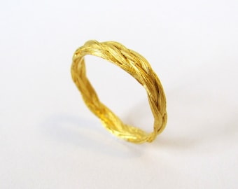 Zopf braided ring simple in silver gold plated