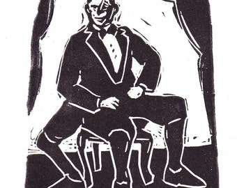 Sideshow Linocut Circus art Human Tripod Three Legged Man Limited Edition Hand Pulled Print Original strange art weird art true story