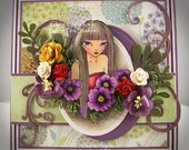 Purple Poppies and a Girl OOAK Fantasy Handmade Greeting Art Card