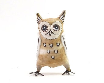 Vintage Inspired Spun Cotton Owl Ornament/Figure