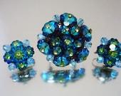 Blue Green Margarita Brooch & Earrings Gorgeous Set Rhinestones Vintage Unused
