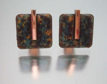 Matisse Copper Enamel Cuff Links Cufflinks Signed  Vintage
