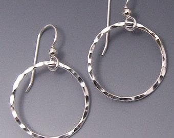 Silver Hoop Earrings, Hand Hammered Circle Dangle Earrings