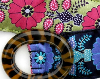 SALE Reversible Ribbon Belt ... Tortoise Buckle ... Lime/Pink and Navy/Purple Dahlia Ribbons ... XSmall size 0/2