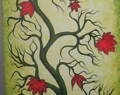 Original Acrylic painting, Green tree, Collage, leaves, TREE painting by Jordanka Yaretz