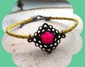 Vintage-inspired bracelet, vintage floral bracelet, floral bracelet, flower bracelet, antique bracelet, boho bracelet, vegan jewelry, boho