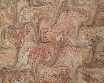 Hand Marbled Pima Cotton Large Bouqets in Brown Perfection