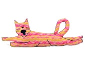 decorative pillow, cat pillow, animal pillow, flying cat shaped big pillow pink yellow striped pattern fabric