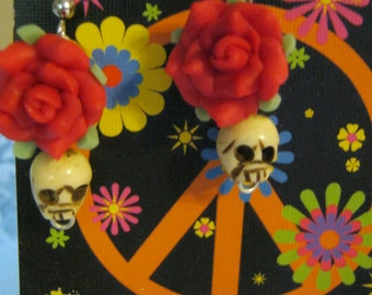Small Skull And Red Rose Earrings