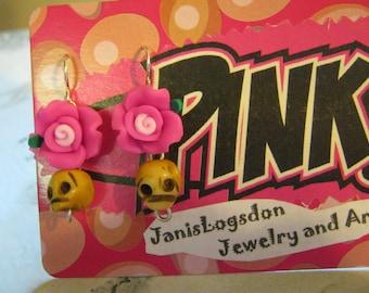 Skull And PINK Rose Earrings