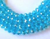 Aqua Crystal Beads, 6x8mm Aqua Rondelle Beads (72)