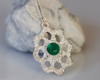 Emerald City, Lace jewelry, Sterling and green onyx necklace, Bridal jewelry, antique lace