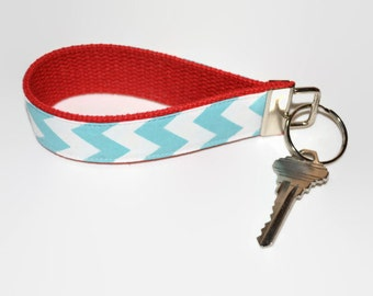 Aqua Chevron and Red Wristlet Key Chain