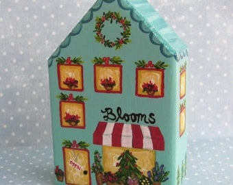 Hand Painted Love Boxes Christmas Village Flower Shop Turquoise
