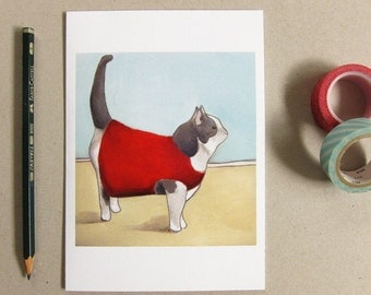 Cat Greeting Card - Cat Lady Card - Cat Card - Funny Card - Blank Card - Cat in a Sweater - Cat Sweater Card