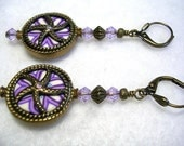 Antiqued Bronze Polymer Clay Earrings Purple Violet Swarovsk Crystal Leverback Hooks