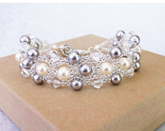 Swarovski Pearls and Crystal Wedding Bracelet, Silver and Cream Wedding Accessories, Silver Weddings, Silver Shade Bracelets